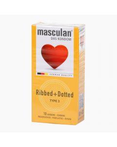 Masculan 3 Ribbed+Dotted óvszer 10x