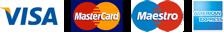 Bank cards in a row: Visa, Mastercard, Maestro, American express